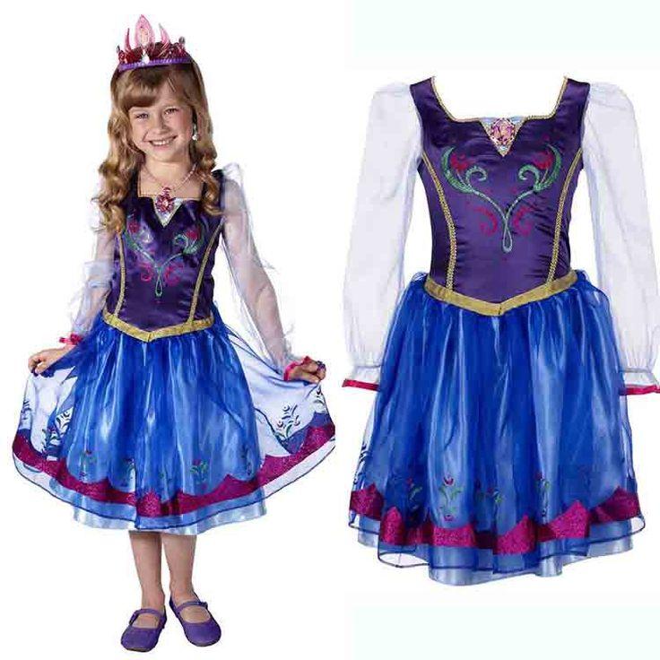 2016 новый шифон королева эльза принцесса анна косплей костюм платье дети сказка платье с длинными рукавами весна лето осень