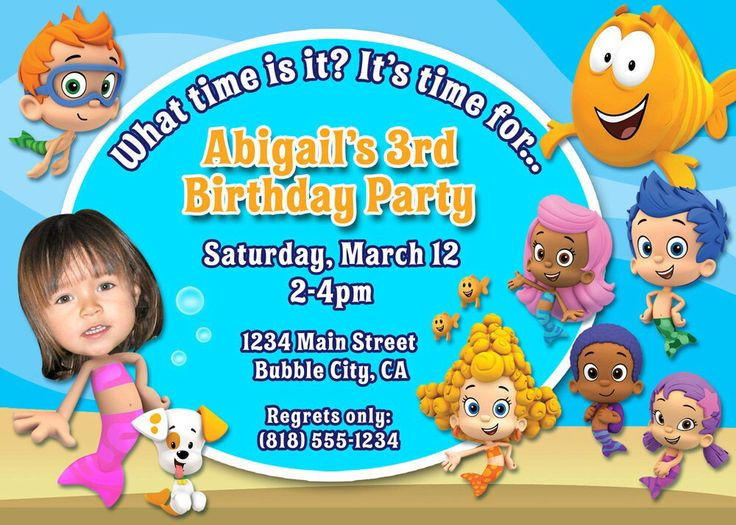 17 best bubble guppies party theme images on pinterest | bubbles, Party invitations