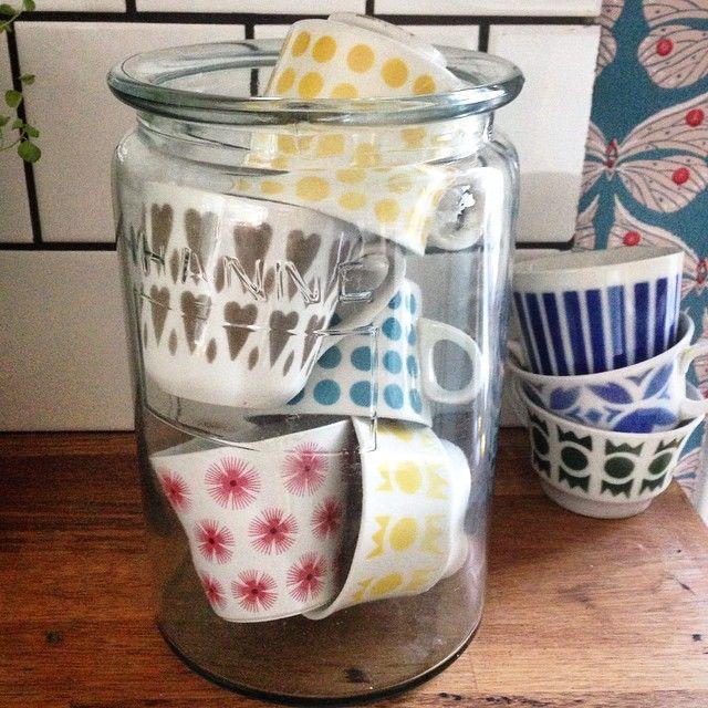 Vintage Arabia cups <3 Cute idea to showcase them in a jar!