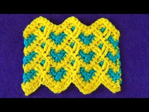 Двухцветный зигзаг с сердечками