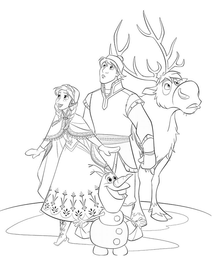 disneys frozen coloring page with anna kristoff olaf and sven - Sven Reindeer Coloring Pages