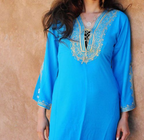 New Turquoise Women Handmade Cotton Cover Up Long Sleeve Abaya Caftan Dress | eBay