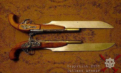 Outland Armor's Steampunk Pistols...it's a pistol with a built-in bayonet! Sweet!