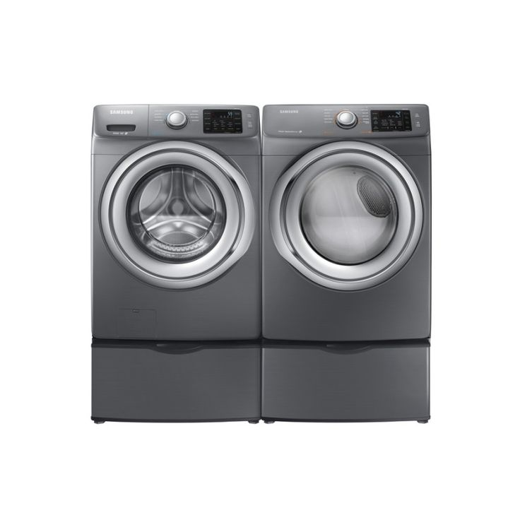 Samsung WF42H5200AP 4.2 cu. ft. Front Load Washer and DV42H5200EP 7.5 cu. ft. Electric Dryer in Platinum