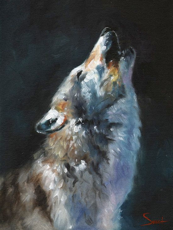 Grey howling wolf oil painting by artist Eric Sweet
