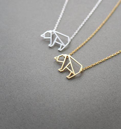 bear necklace, Animal Jewelry, Origami bear, geometric bear