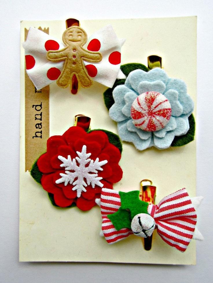 Christmas Hair Clip  Felt Flower hair clips with by giddyupandgrow, $24.00