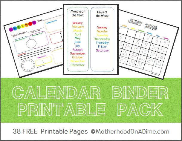 Need to find a way to organize? Want to teach your little one about the calendar and numbers? This FREE Calendar Binder Printable pack is just wha