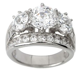 diamonique simulated diamond round 3 stone ring platinum clad - Qvc Wedding Rings