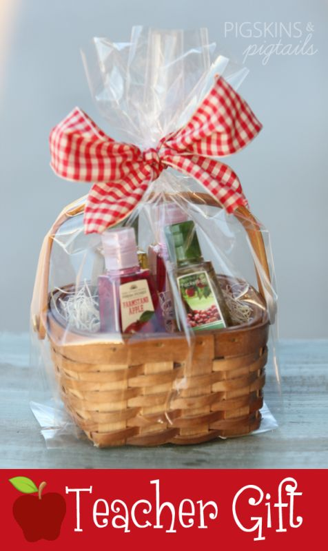 Apple Hand Sanitizers in Mini Basket     Apple Teacher Appreciation Gift Idea      from pigskins&pigtails