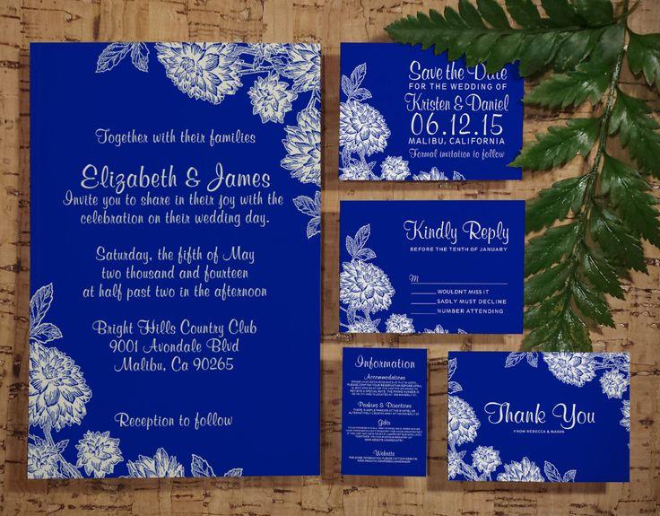 Elegant Navy Blue Wedding Invitation Set/Suite by InvitationSnob