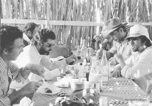 Raiders of the Lost Ark - Behind the scenes photo of Harrison Ford, Steven Spielberg, George Lucas & Howard Kazanjian