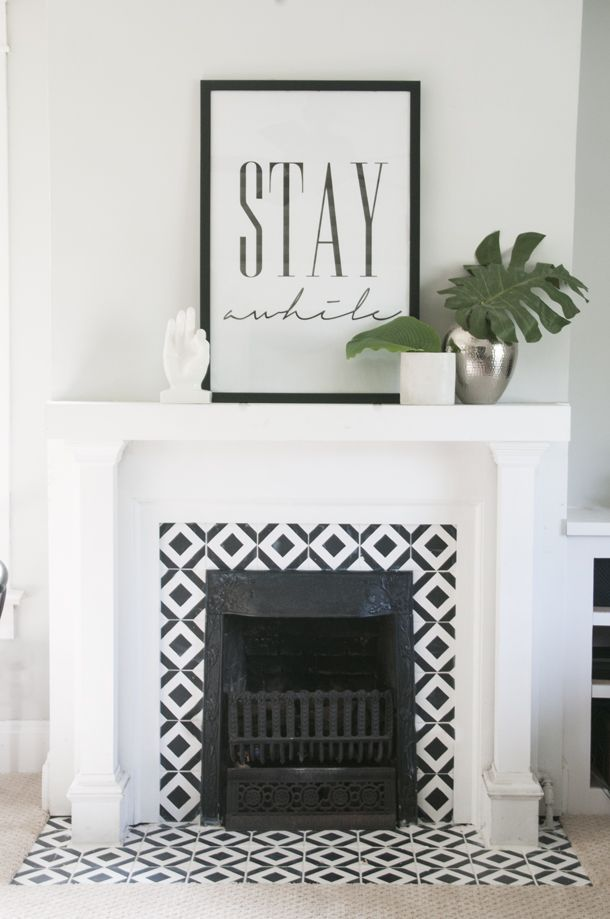 hand painted tile fireplace