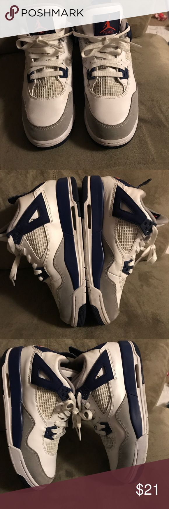 White, Gray, and Blue Air Jordan Flight‼️ 🔥🔥🔥🔥 White, Gray, and Blue Air Jordan Flight 👟👟‼️ 🔥🔥🔥🔥 Gently Used‼️ Size: 6Y Air Jordan Shoes Sneakers