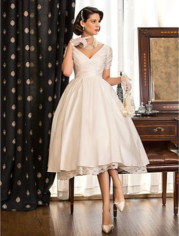 Wedding Dress A Line Tea Length Taffeta V Neck Little White Dress With Criss Cross Bodice - USD $ 99.99