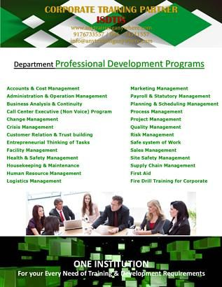 Professional Development Courses for Department wise Professionals
