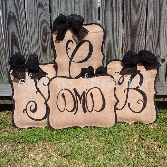 Initial Burlap Door Hanger by Shutyafrontdoor on Etsy
