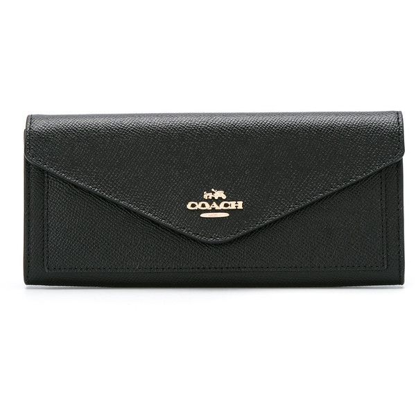 Coach Carteira de couro modelo 'Soft Wallet' (590 BRL) ❤ liked on Polyvore featuring bags, wallets, black, leather bags, real leather wallets, coach bags, real leather bags and genuine leather bags