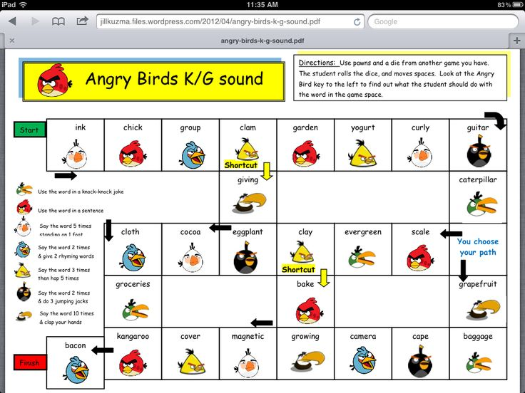 Angry Birds articulation game