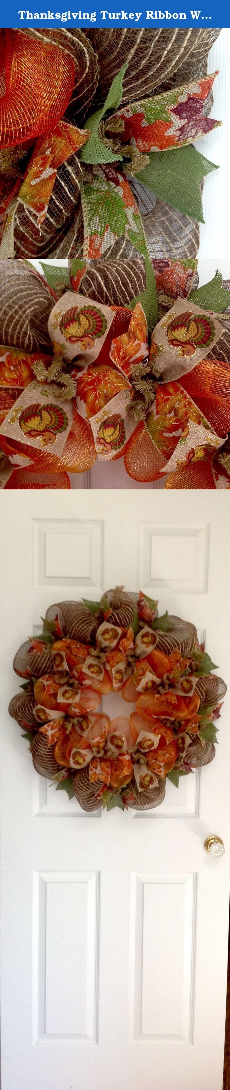 Thanksgiving Turkey Ribbon Wreath Handmade Deco Mesh. New! Full! Premium! Handmade Harvest Or Thanksgiving Wreath. The outer ring is a creamy brown burlap mesh with natural jute threads. Gorgeous leaf printed premium burlap ribbons along with moss green burlap ribbons surround the exterior. The center ring is made with bright orange and gold two tone deco mesh. Beautiful canvas ribbons with printed turkeys and colorful Autumn leaves ribbons surround the center. It is a large, full…
