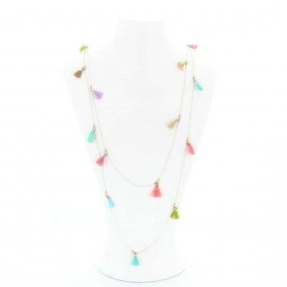 Sautoir pompons multicolores