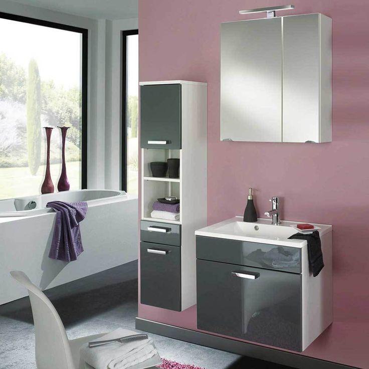 Badezimmer Kombination In Grau Hochglanz Weiß Hängend (3 Teilig) Jetzt  Bestellen Unter: