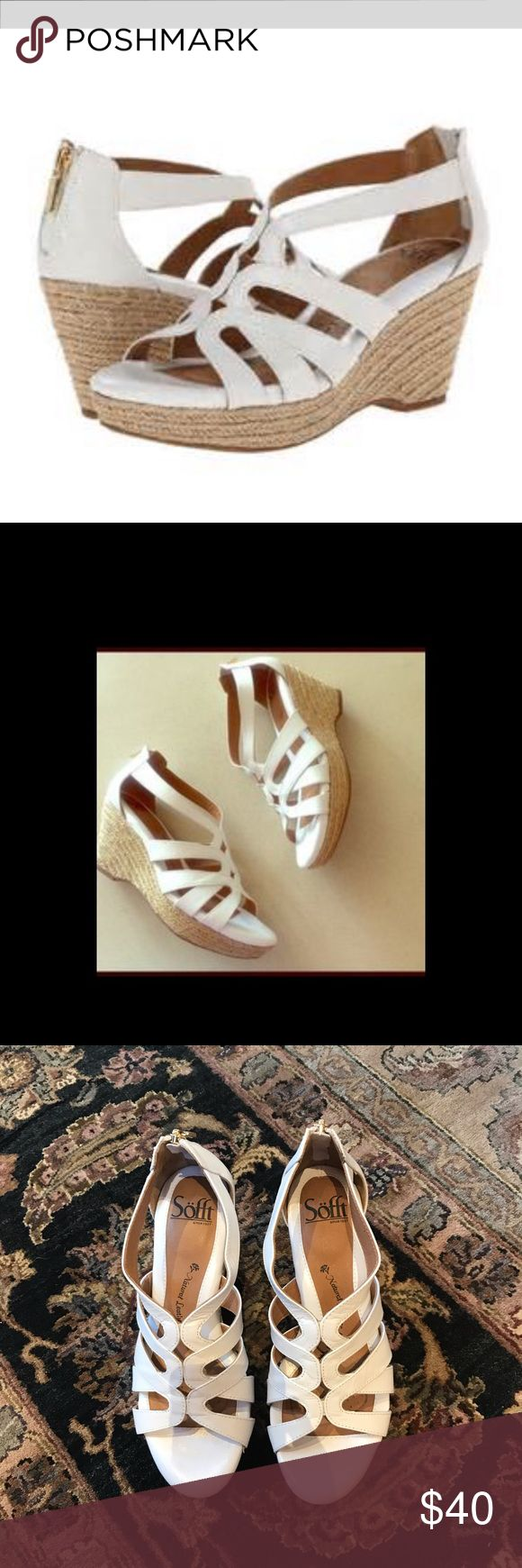 Soft white wedge open toe sandals like new 7 Genuine leather sofft women's Marina white wedge sandals MSRP $87 - like new very soft footbed- wedge approx. 3in. Sofft Shoes Wedges
