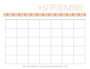 Calendarios gratis para imprimir. Hay un calendario para cada mes y puedes personalizarlos a tu gusto. Sirven para cualquier año!: Calendario de Septiembre