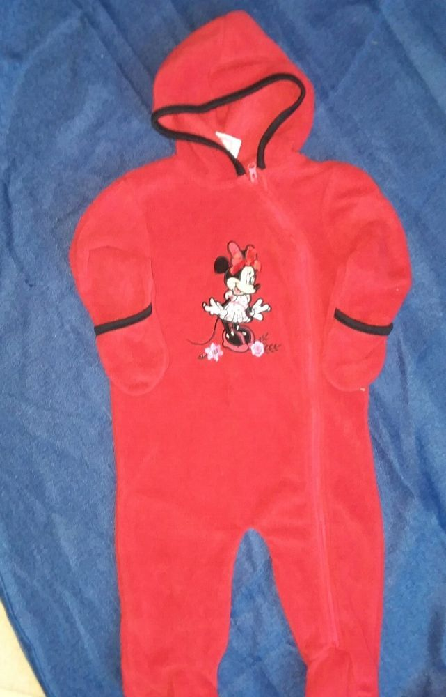 29942717e DISNEY BABY Minnie Mouse Bunting w/Hood Fleece Red 6-9 Months Footed Hand  Cuffs #fashion #clothing #shoes #accessories #babytoddlerclothing ...