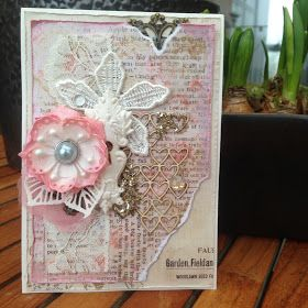 Card with Foamiran Flower. I have made this Valentine Card for some Challenges. My first Card with homemade Foamiran Flower. ...