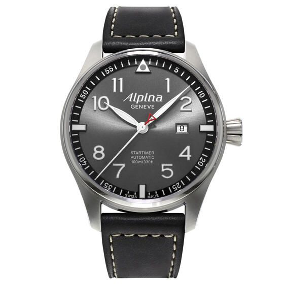 Alpina Pilot Automatic SUNSTAR 44mm Case AL-525GB4S6. Stainless steel case. Sapphire Crystal. 38 hour power Reserve. Screw-in crown. Grey Sunray with applied indexes.