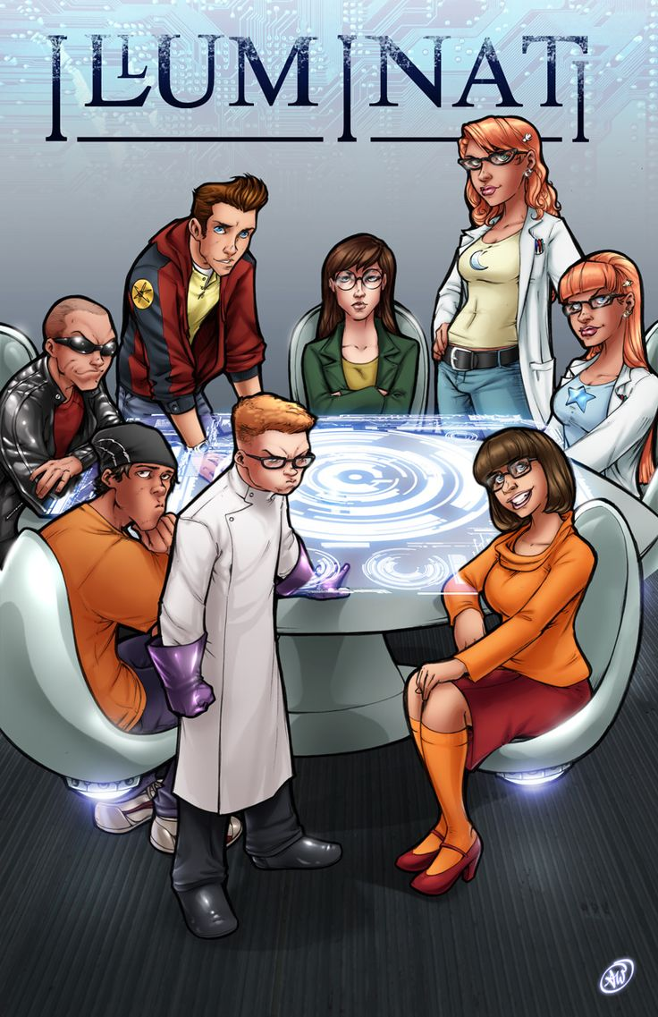 -The Cast (Clockwise from top center): Daria Morgendorffer (Daria), Susan and Mary Test (Johnny Test), Velma Dinkley (Scooby Doo), Dexter (Dexter's Laboratory), Edd (Ed, Edd, n' Eddy), Nigel Uno (Codename: Kids Next Door), and Jimmy Neutron.