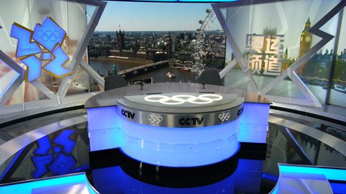 CCTV5 London Olympics Studios | Tv set design, Studio, Broadcast