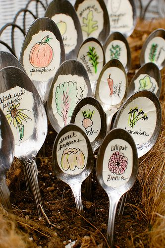 Recycled Spoon Garden Markers. May be the cutest gardening idea ever