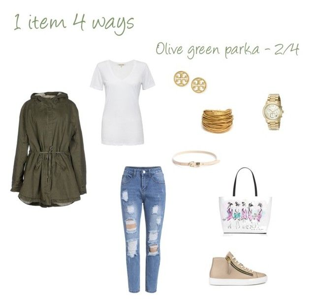 """""""Spring essentials: Olive green parka - 2/4"""" by niki-1hourforme on Polyvore featuring Cotton Citizen, HUGO, Kate Spade, Tory Burch, Michael Kors, Black & Sigi and French Connection"""