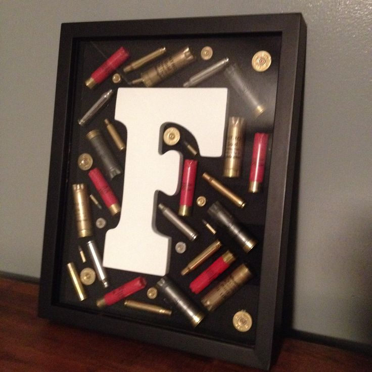 DIY shadow box. Empty ammo and first initial of your last name. Country living.