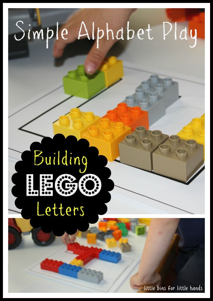 Alphabet activities: Reviewing the letters with Legos! Great fine motor and building activity.