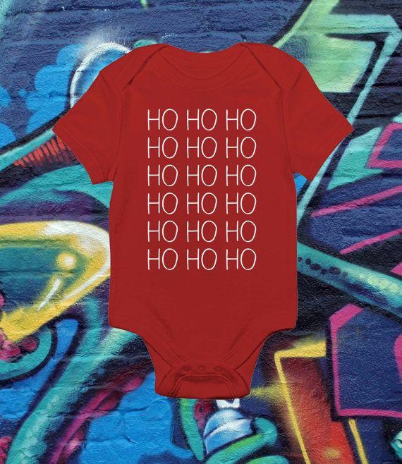 Ho Ho Ho Christmas Baby Bodysuit Xmas Crawler by kitschklothing