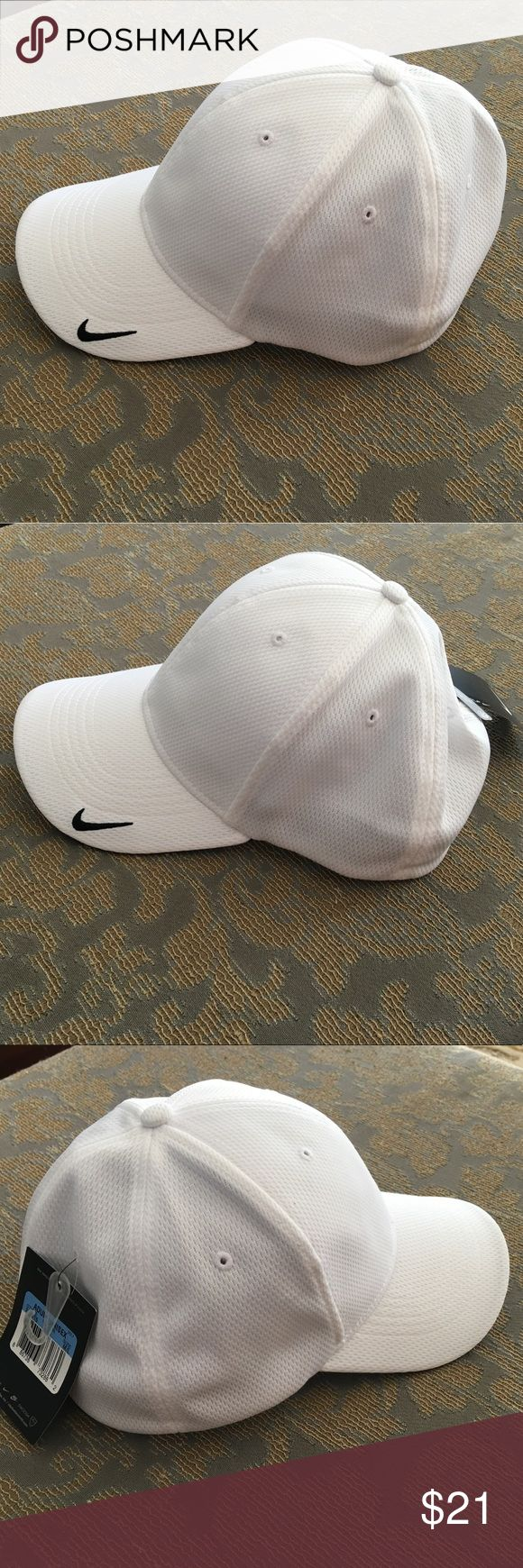 NWT Nike Golf White Dri-Fit Mesh Flex Cap Hat M/L NWT Nike Golf White Dri-Fit Mesh Swoosh Flex Sandwich Cap Size M/L. This moisture wicking fitted hat has a structured mid-profile design. The Swoosh Flex sweatband ensures an exceptional fit. The contrast Swoosh design trademark is embroidered on the bill in the same color as the trim. See pictures for sizing chart. Made of 100% polyester knit mesh. It was kept in a smoke free home. Nike Accessories Hats