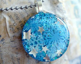 Resin Jewelry - Snowflake Resin Pendant,  Hand Poured Resin, Blue Silver Star Necklace,  Winter themed jewelry by keepthesugar