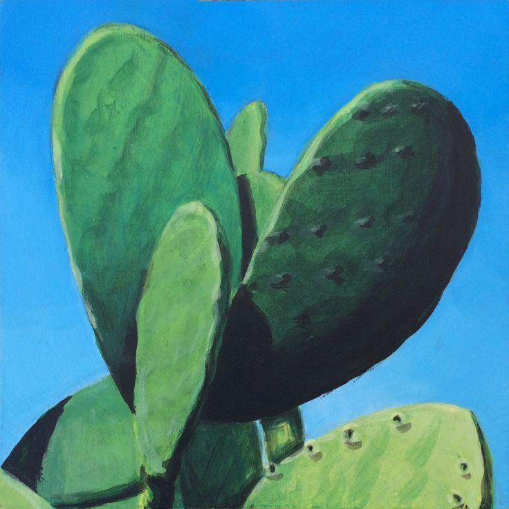 MGRey — Chumbera 4 Prickly pear cactus 4  Acrylic on wood 15x15 cm