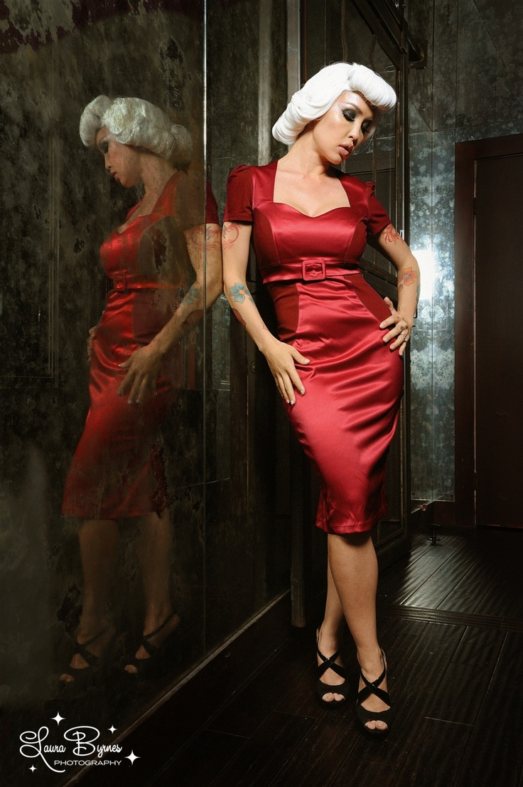 This dress makes me luuuuuuv my voluptuousness! Pris Dress in Red Knit and Satin | Pinup Girl Clothing