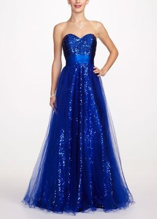 Strapless Tulle Prom Dress with All Over Sequin - David's Bridal- mobile