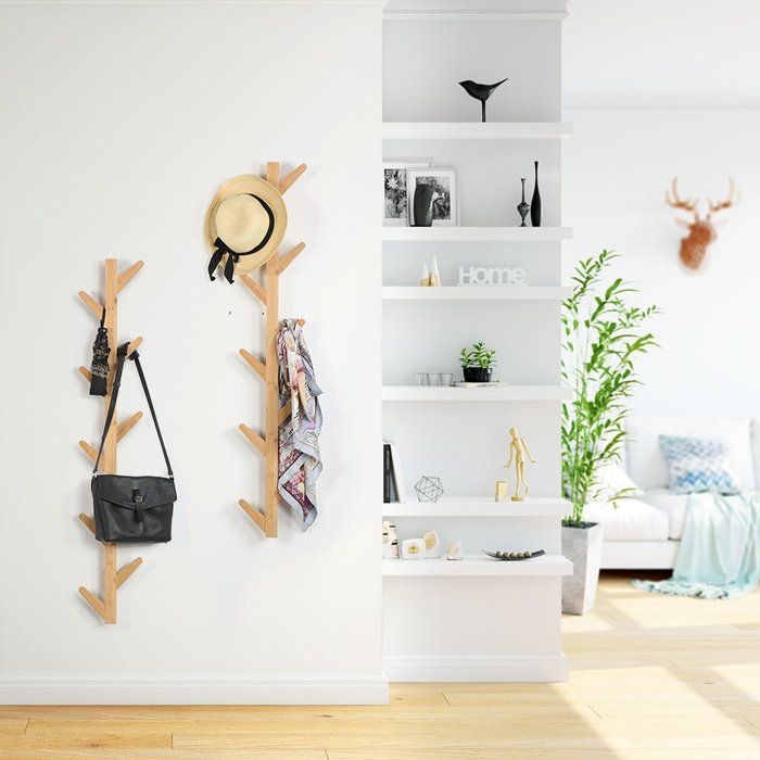 Millwood Pines Marilyn Tree Shaped 10 Hooks Wall Mounted Coat Rack Wayfair Wall Mounted Coat Rack Tree Shapes Wall Mount