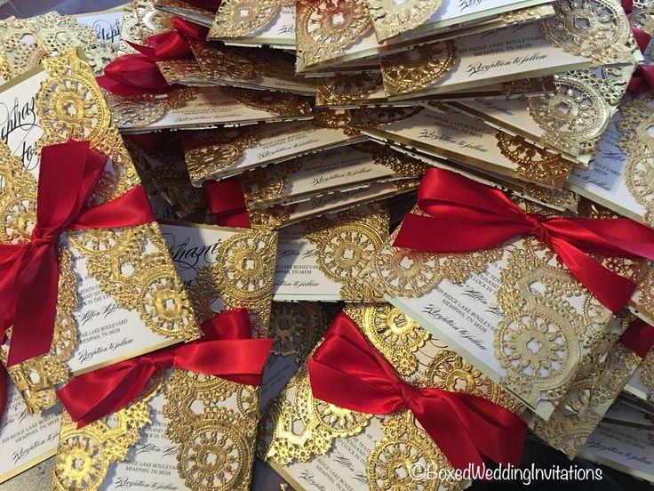 Lasercut wedding invitations. Love the red and gold combination.  #invitations  www.boxedweddinginvitations.com