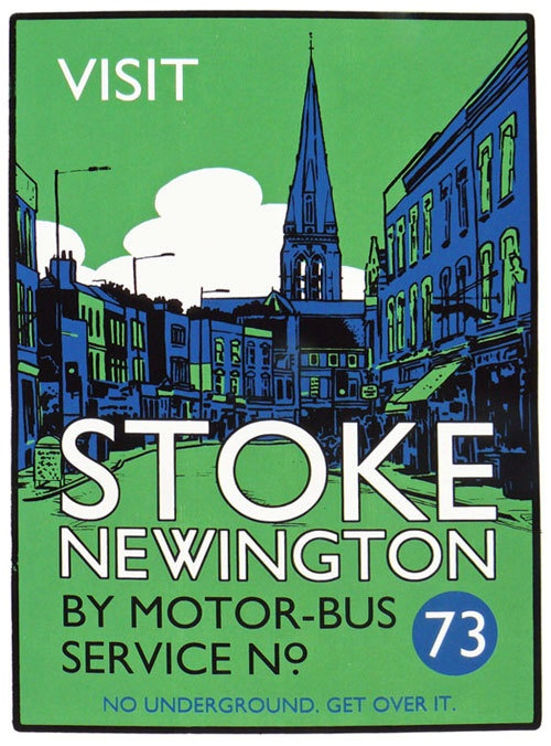 Vintage style screenprint poster - Visit Stoke Newington by Motor Bus 73. £55.00, via Etsy.