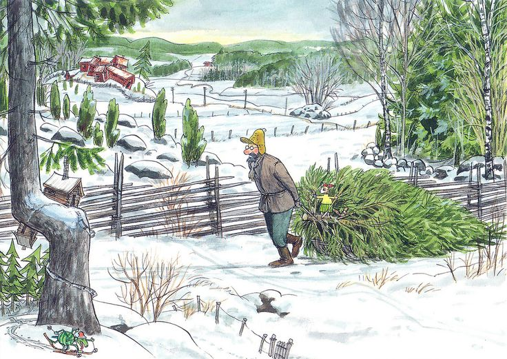 Pettson and Findus bringing their Christmas tree from the forest. Postcard from SeaSailing via Christmas Card RR! Katya @  https://www.flickr.com/photos/apple_min/
