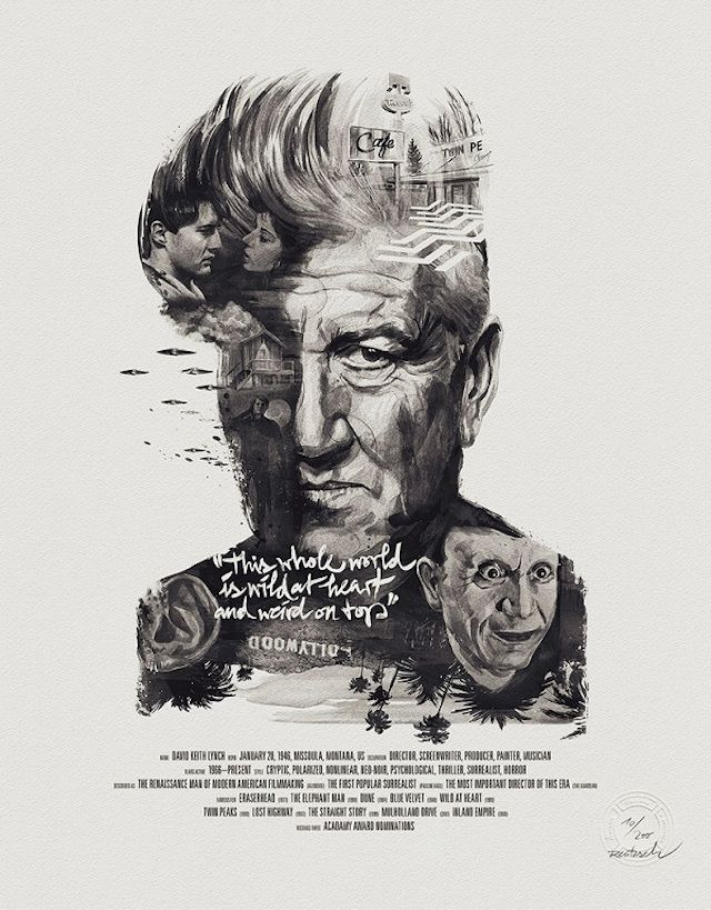 """German illustrators Julian Rentzsch and Stellavie Design Manufaktur have collaborated to pay tribute to three famous directors Martin Scorsese, David Lynch and Alfred Hitchcock, through their posters """"Movie Director"""". The prints shows a portrait of the director with symbolic patterns belonging to his filmography and a quote."""