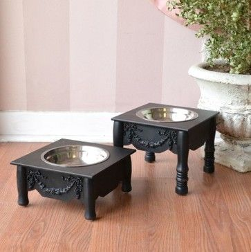 French Style Chic Single Bowl Pet Feeder - Black - Available in 2 sizes! - mediterranean - pet accessories - los angeles - The Bella Cottage