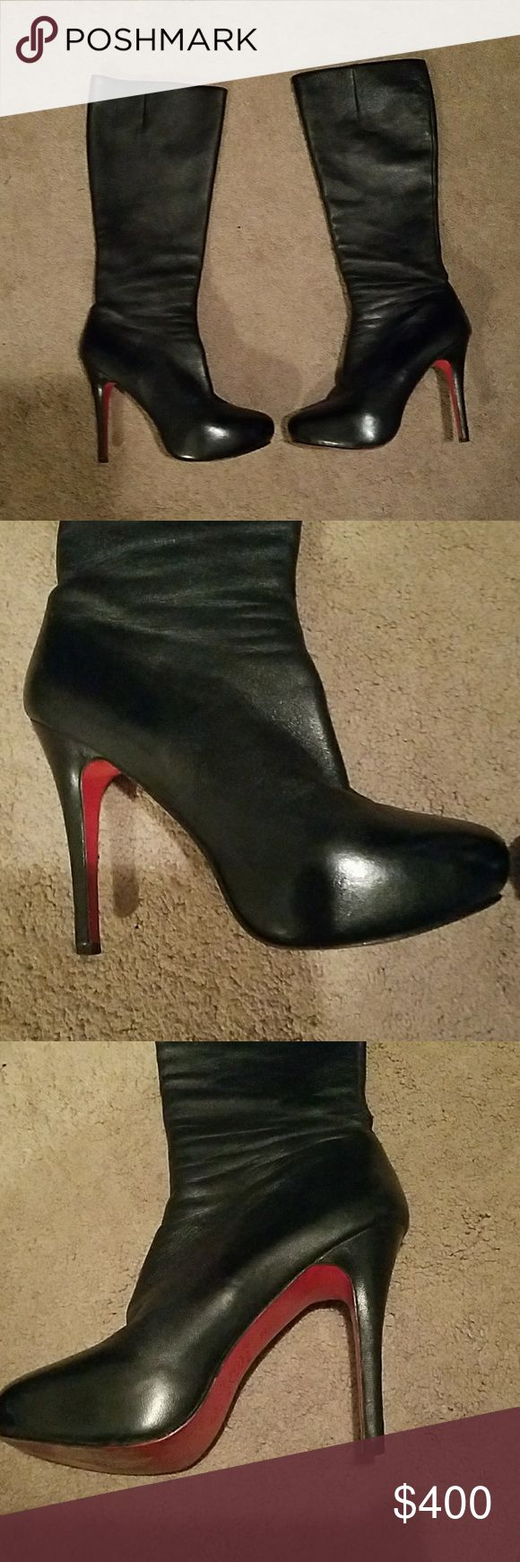 Christian loubiton tall leather boots Heel height 4.5 in.shaft height 14in.calf circumference 13in.great condition,bottom shows wear naturally,but other than that minor scuffs as shown in pics Christian Louboutin Shoes Heeled Boots
